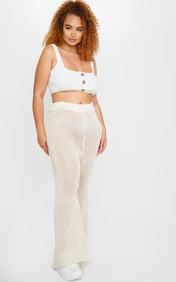 Plus Cream Knit High Waist Wide Leg Pants 1