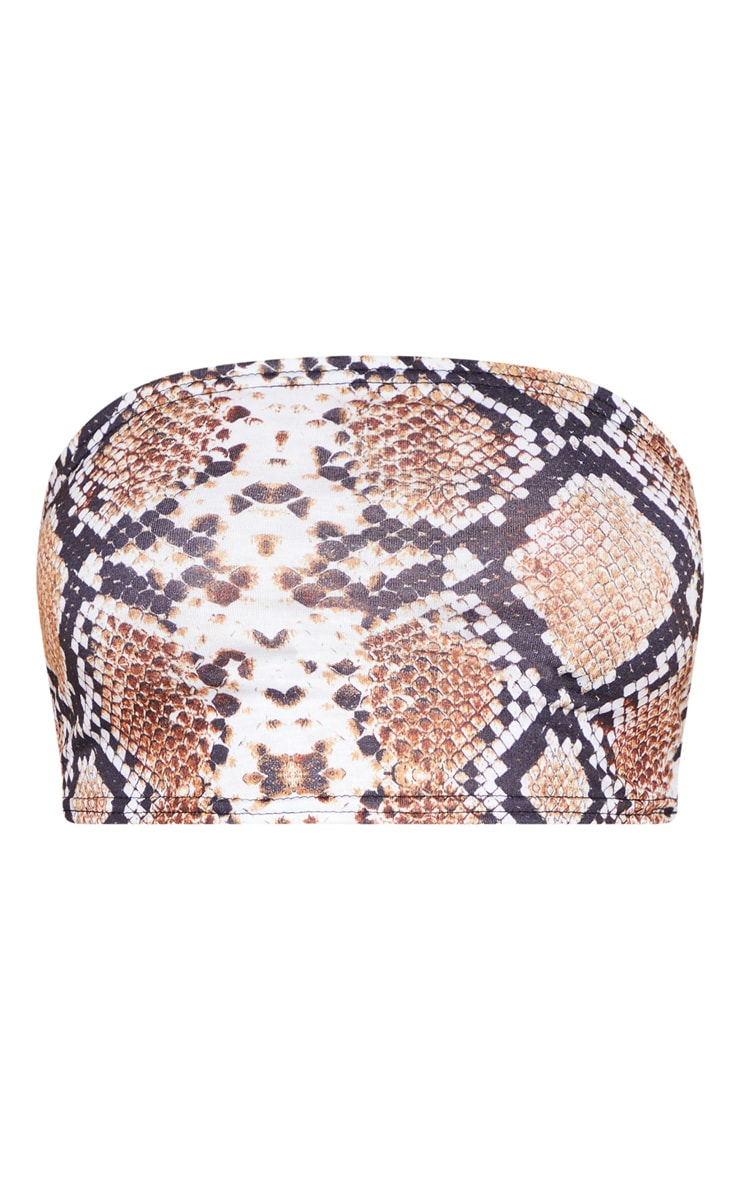 Christiane Tan Snake Print Bandeau Crop Top  3