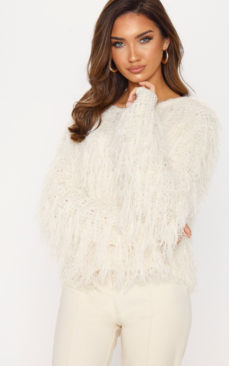 Stone Fluffy Knit Cropped Jumper 4