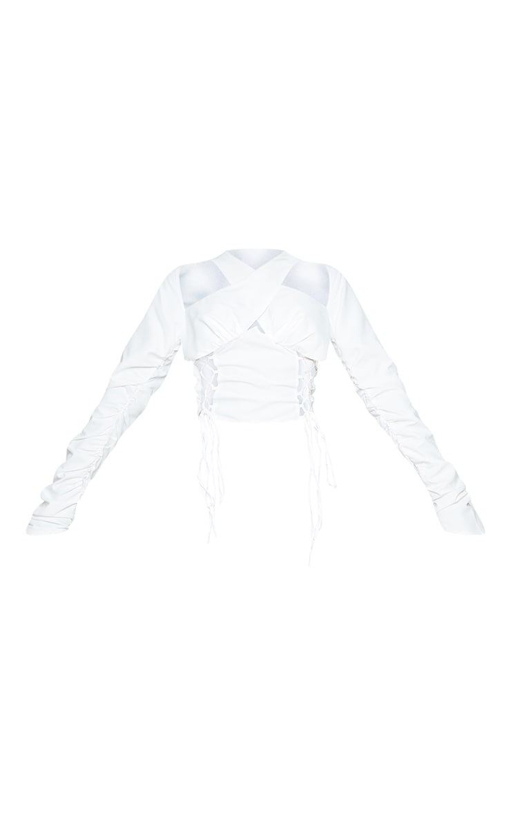 White Woven Long Sleeve Lace Up Side Top 5