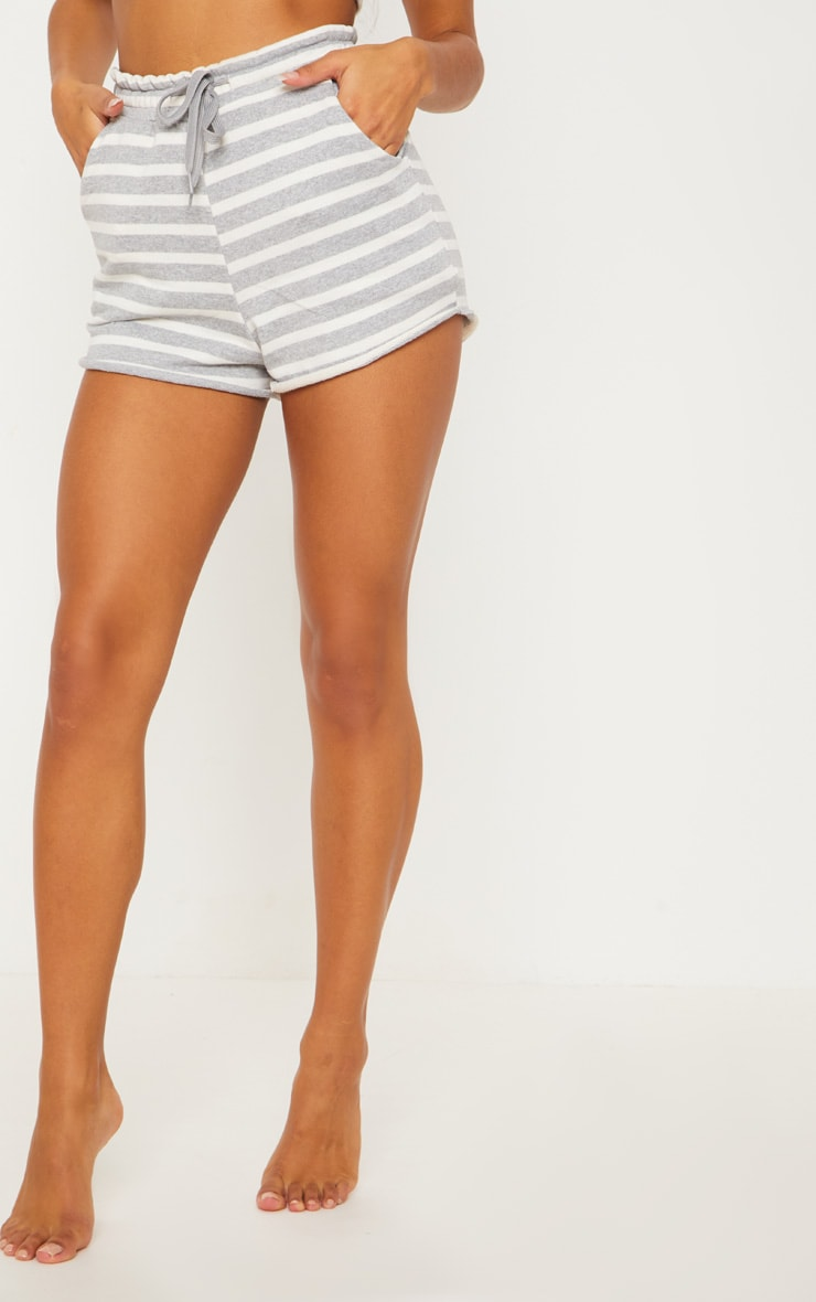 Grey Striped Jersey Short 2