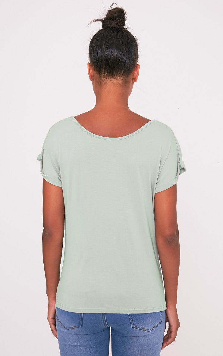 Bea Sage Green Multi Way Cowl Neck T Shirt 7