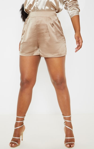 Champagne Satin Pleat Detail Short