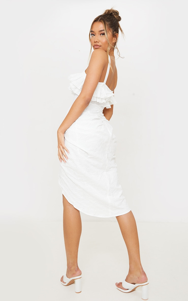 White Broderie Anglaise Strappy Frill Draped Midi Dress 2