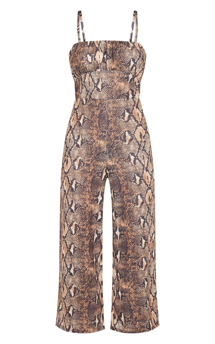Tan Snake Print Ruched Bust Strappy Culotte Jumpsuit 5