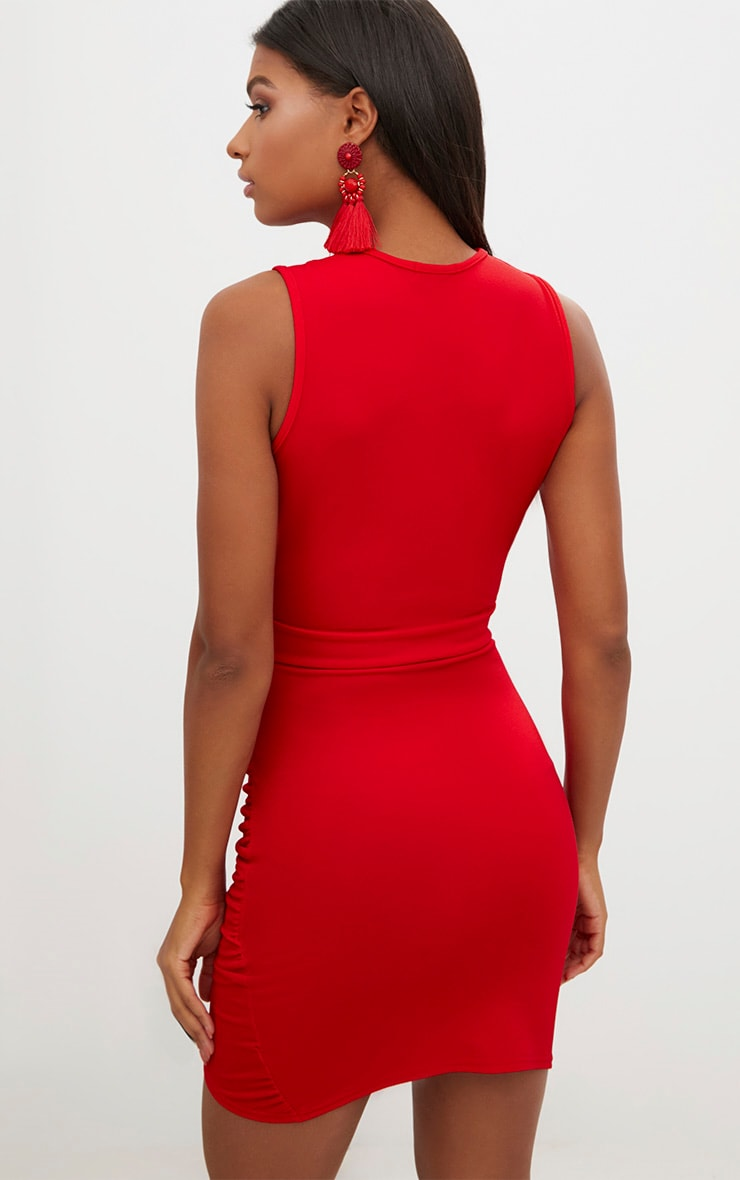 Red Cross Over Ruched Bodycon Dress 2