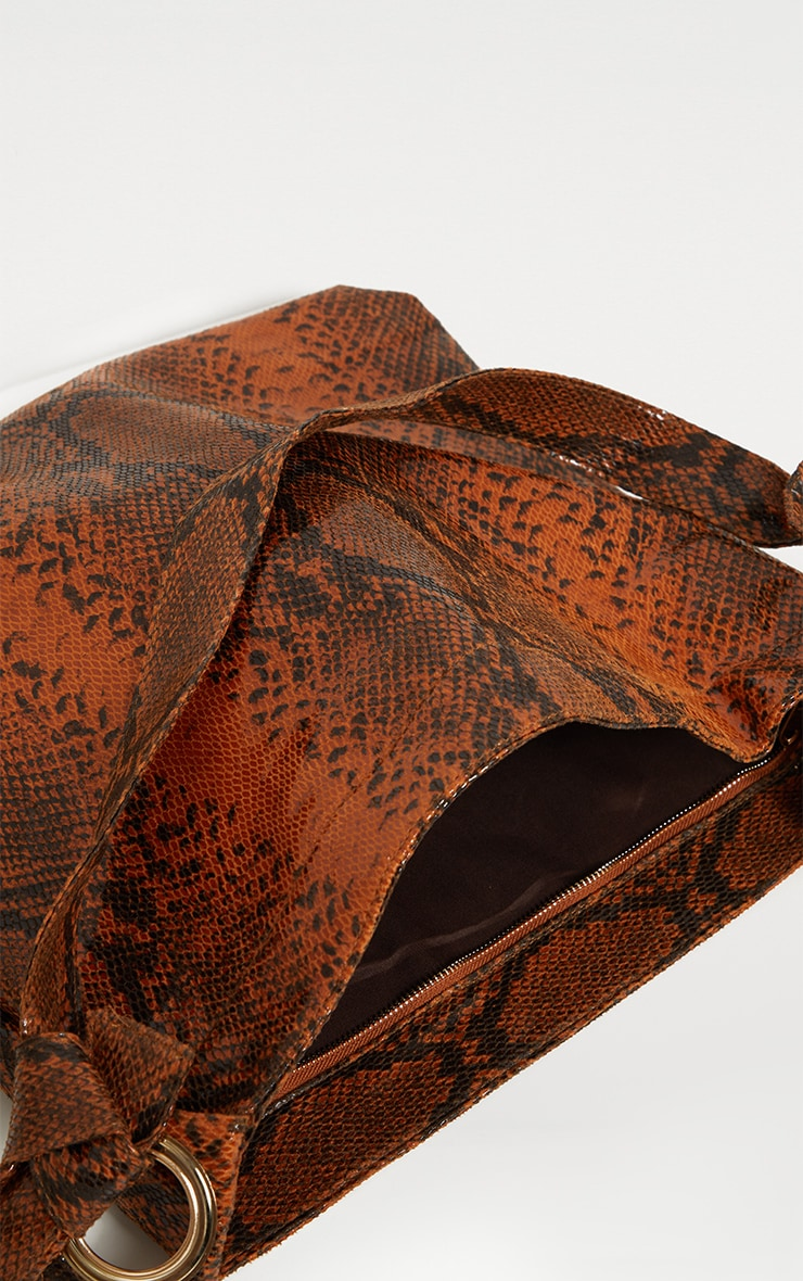 Brown Snake Relaxed Shoulder Bag 4