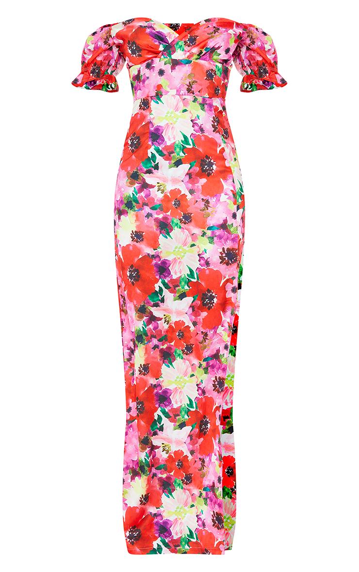 Multi Floral Satin Wrap Bardot Maxi Dress 5