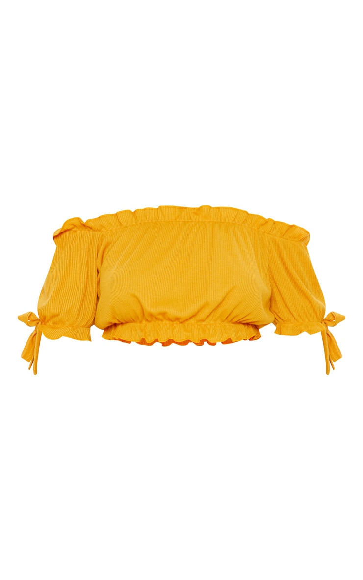 Mustard Bardot Bow Sleeve Jersey Crop Top 3