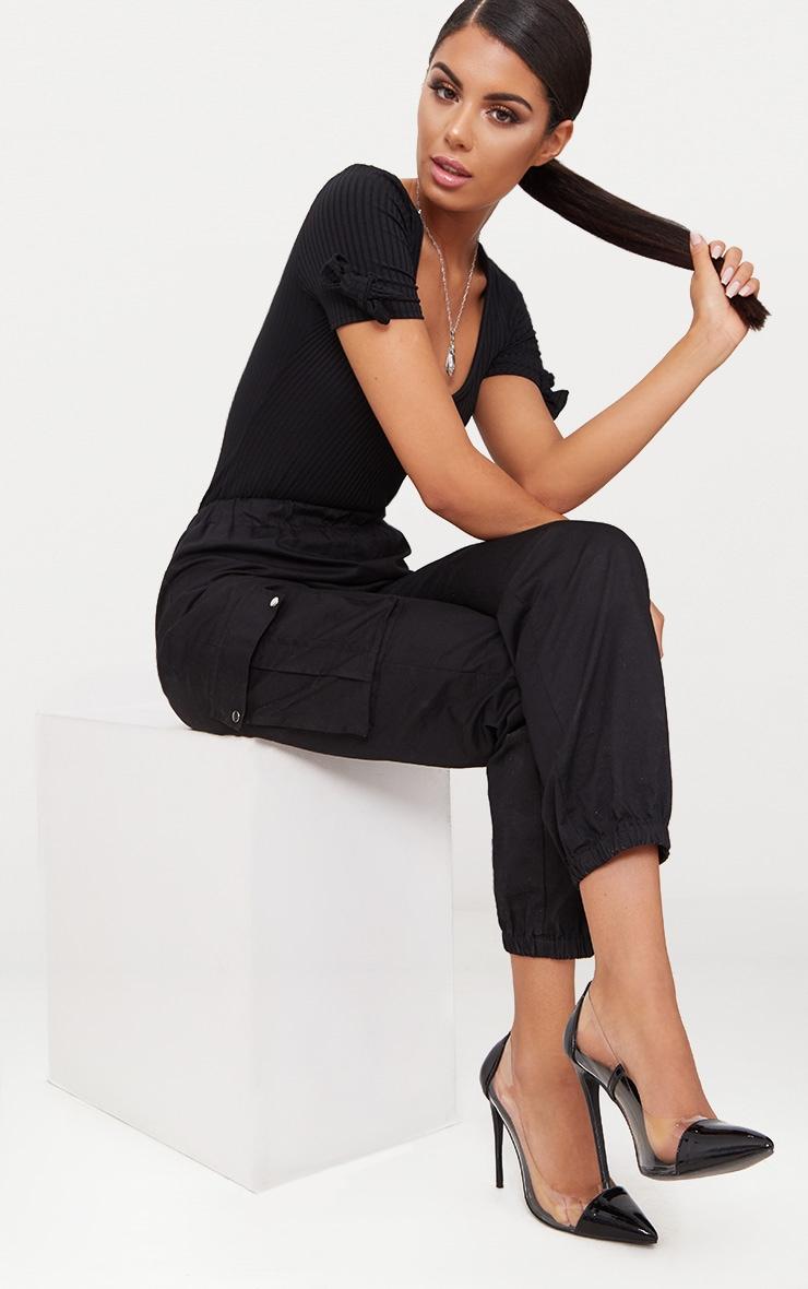 Black Rib V Neck Bow Sleeve Thong Bodysuit  5