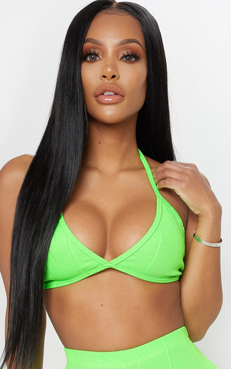 Shape Neon Lime Bandage Halterneck Bralet 5