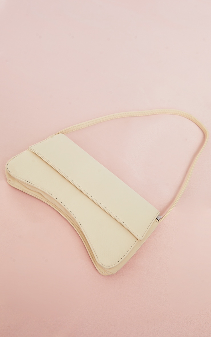 Stone Nylon Flap Over Baguette Shoulder Bag 1