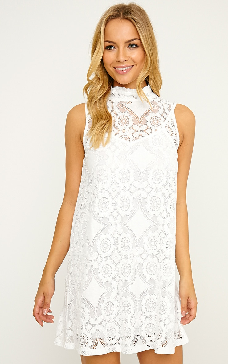 Kelsey White Lace Shift Dress 4