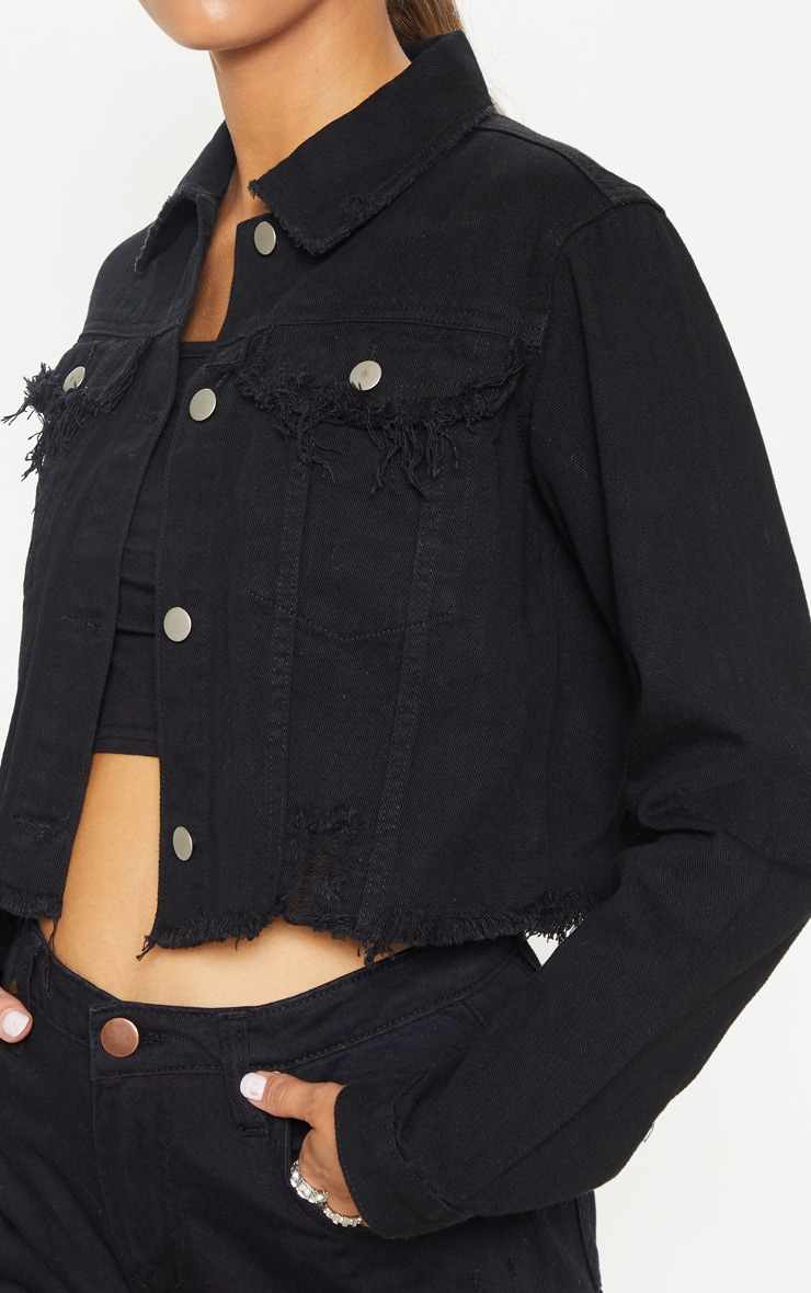 Tall Black Cropped Denim Jacket 5