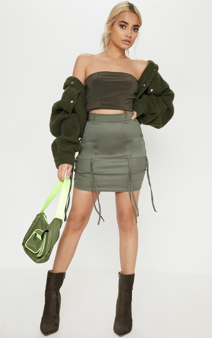Petite Khaki Fitted Cargo Mini Skirt 5