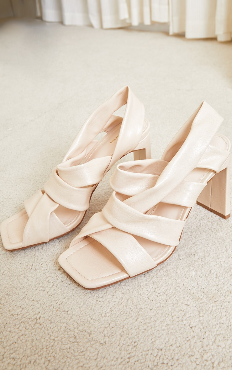 Cream PU Square Toe Quilted Weave Flat Heeled Sandals 3