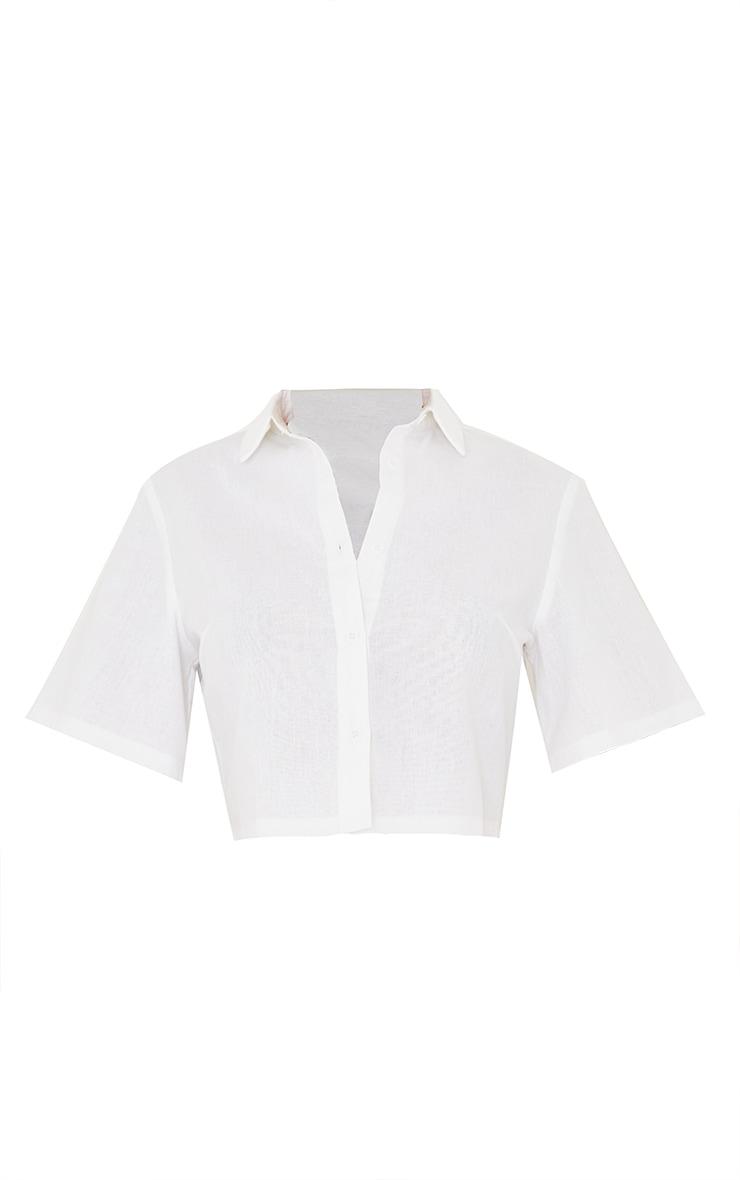 White Linen Feel Short Sleeve Crop Shirt 5