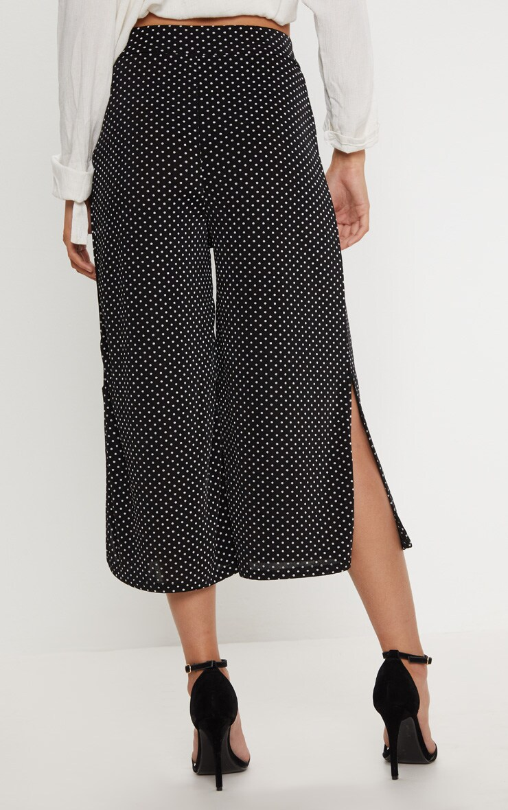 Black Polkadot Tie Waist Split Hem Detail Culotte 4