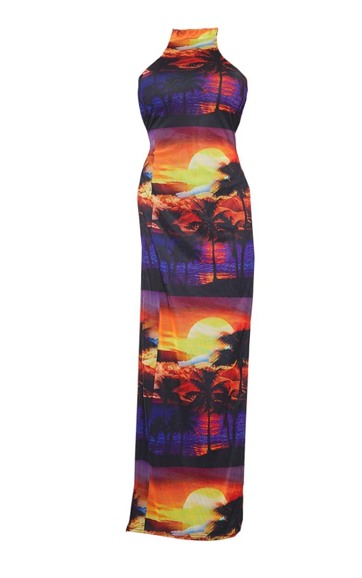 Shape Multi Sunset Print Mesh High Neck Split Maxi Dress 5