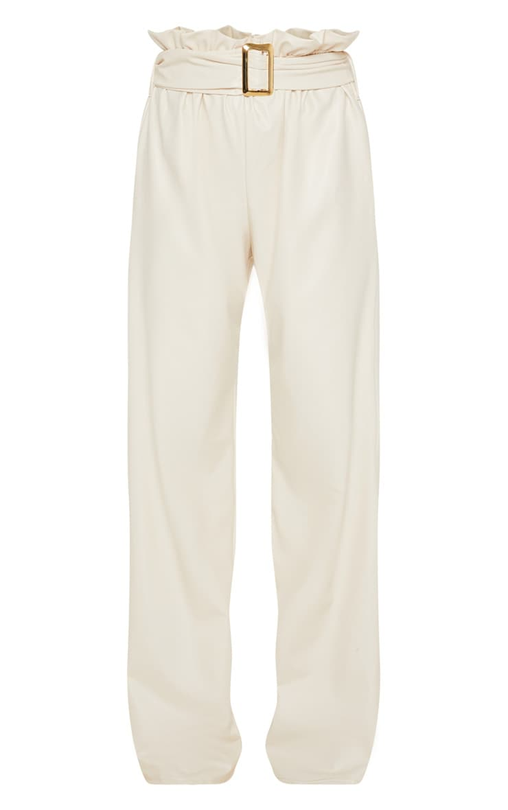 Cream Faux Leather Belted Waist Wide Leg Trouser 3
