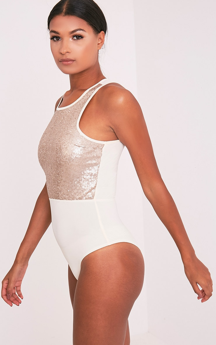Laisha Gold Sequin High Neck Slinky Thong Bodysuit 5