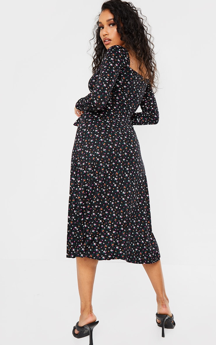 Petite Black Ditsy Print Balloon Sleeve Tie Front Swing Dress 2