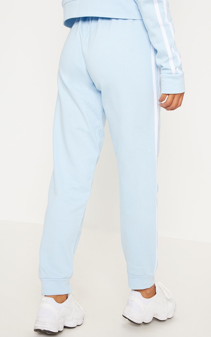 Pale Blue Contrast Stripe Cuff Boyfriend Sweat Joggers 4
