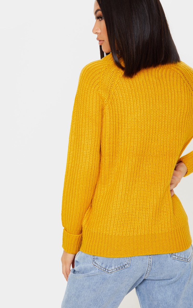 Mustard Cable Shoulder Chunky Knitted Sweater 2