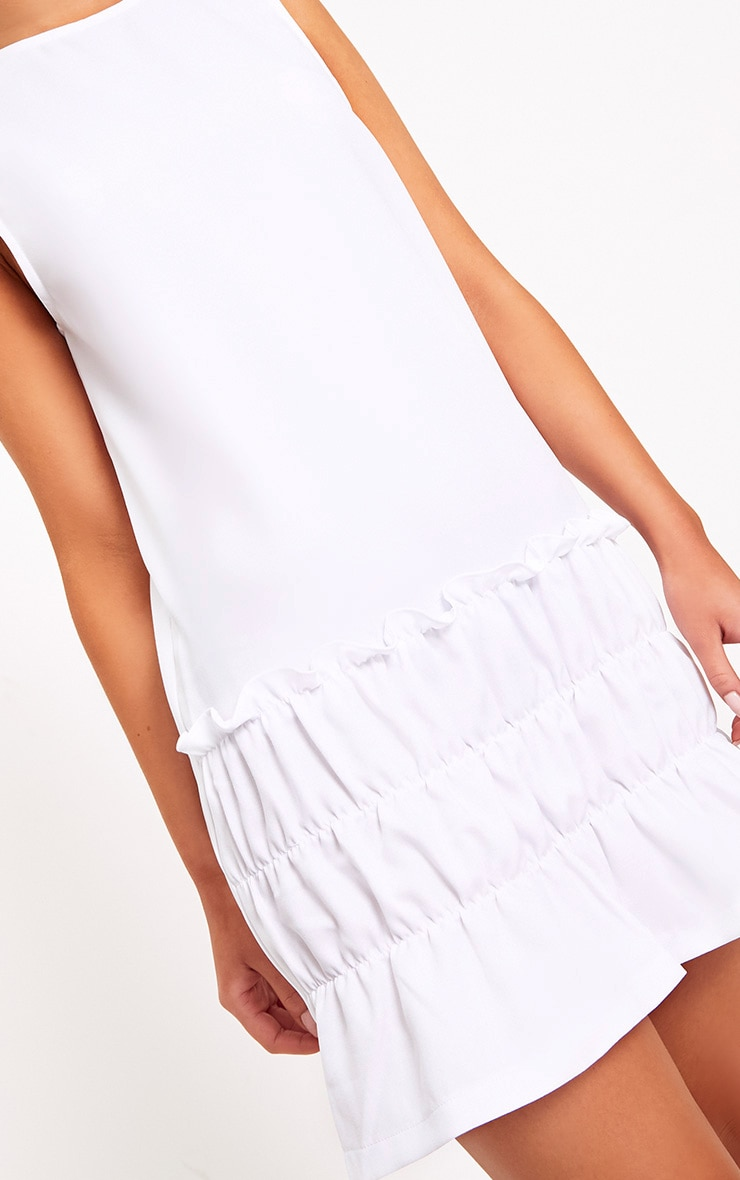 Salinda White Sleeveless Ruffle Detail Shift Dress  5