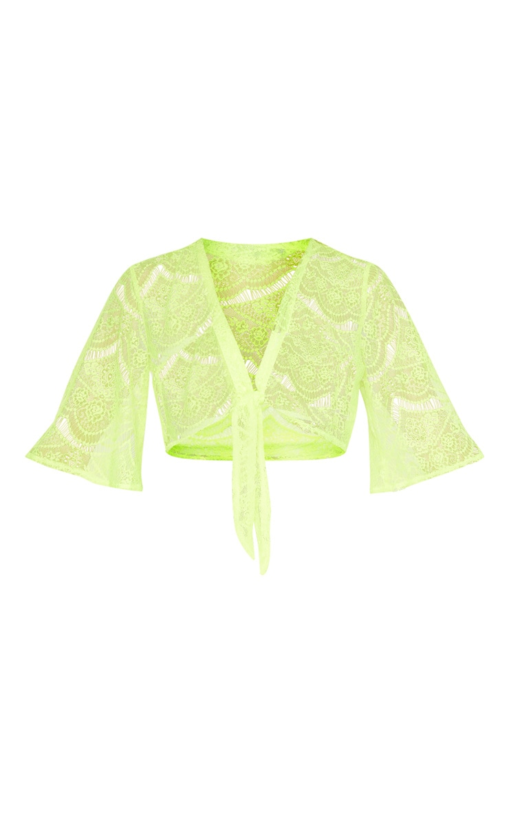 Neon Yellow Lace Tie Front Beach Top 3