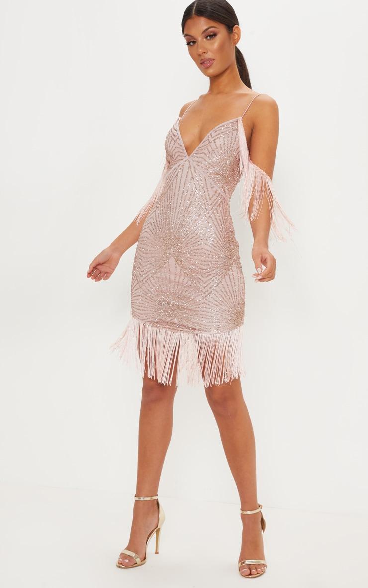 Rose Sequin Tassel Cold Shoulder Detail Midi Dress 4