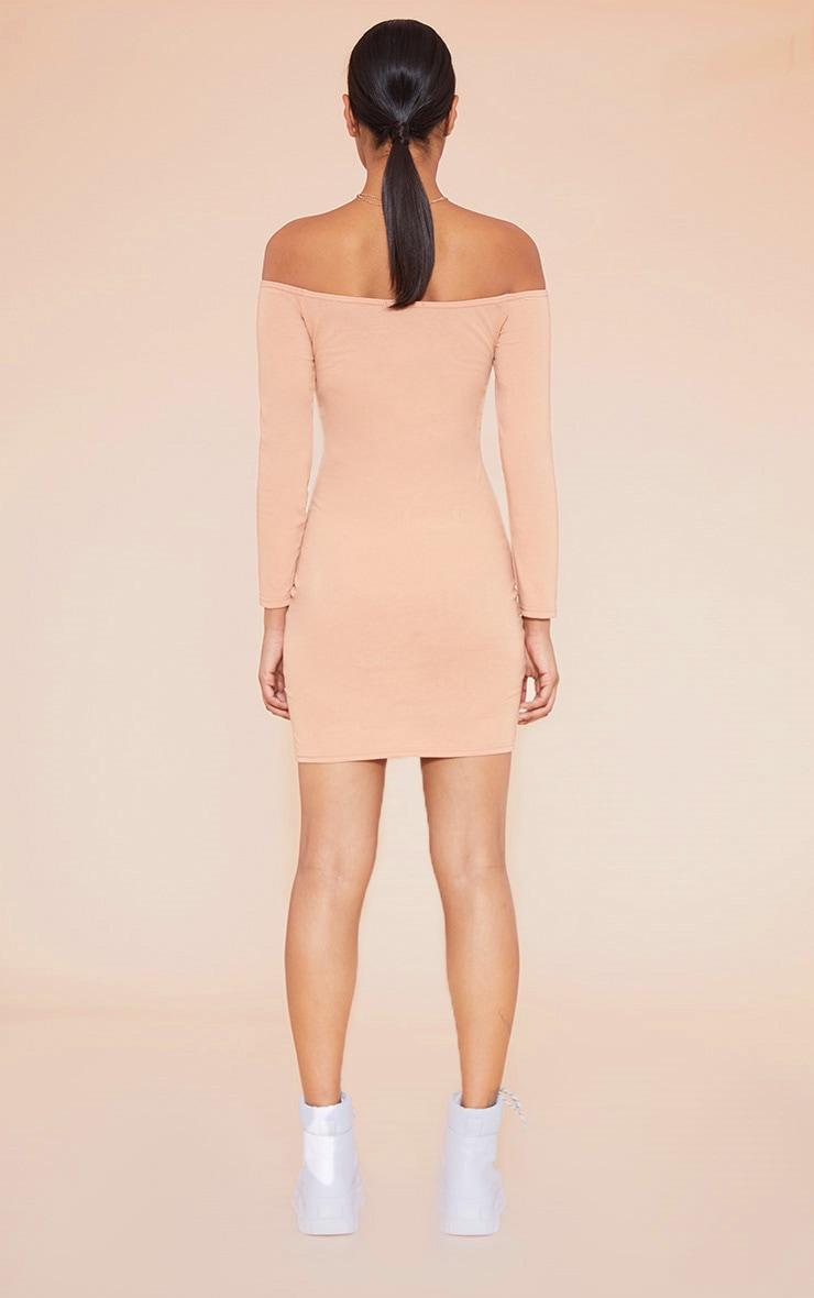 RECYCLED Pale Tan Bardot Bodycon Dress 5
