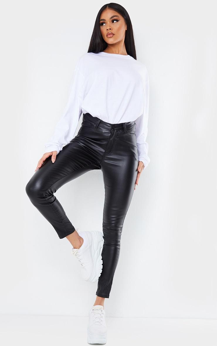 Black Coated Denim Dipped Waistband Skinny Jeans 1