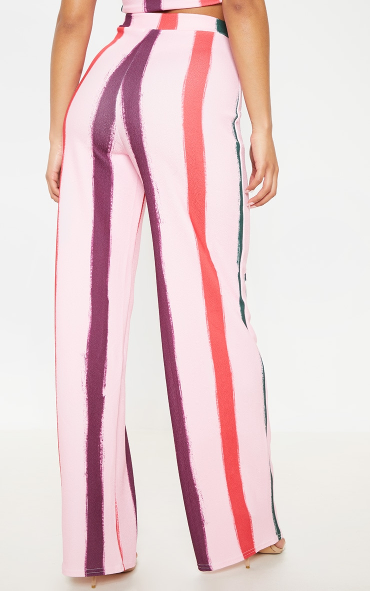 Light Pink Multi Thick Stripe Wide Leg Pants  4