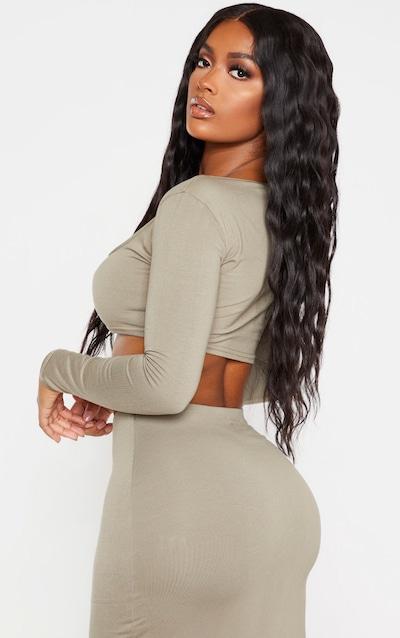 Shape Khaki Cotton Square Neck Long Sleeve Crop Top