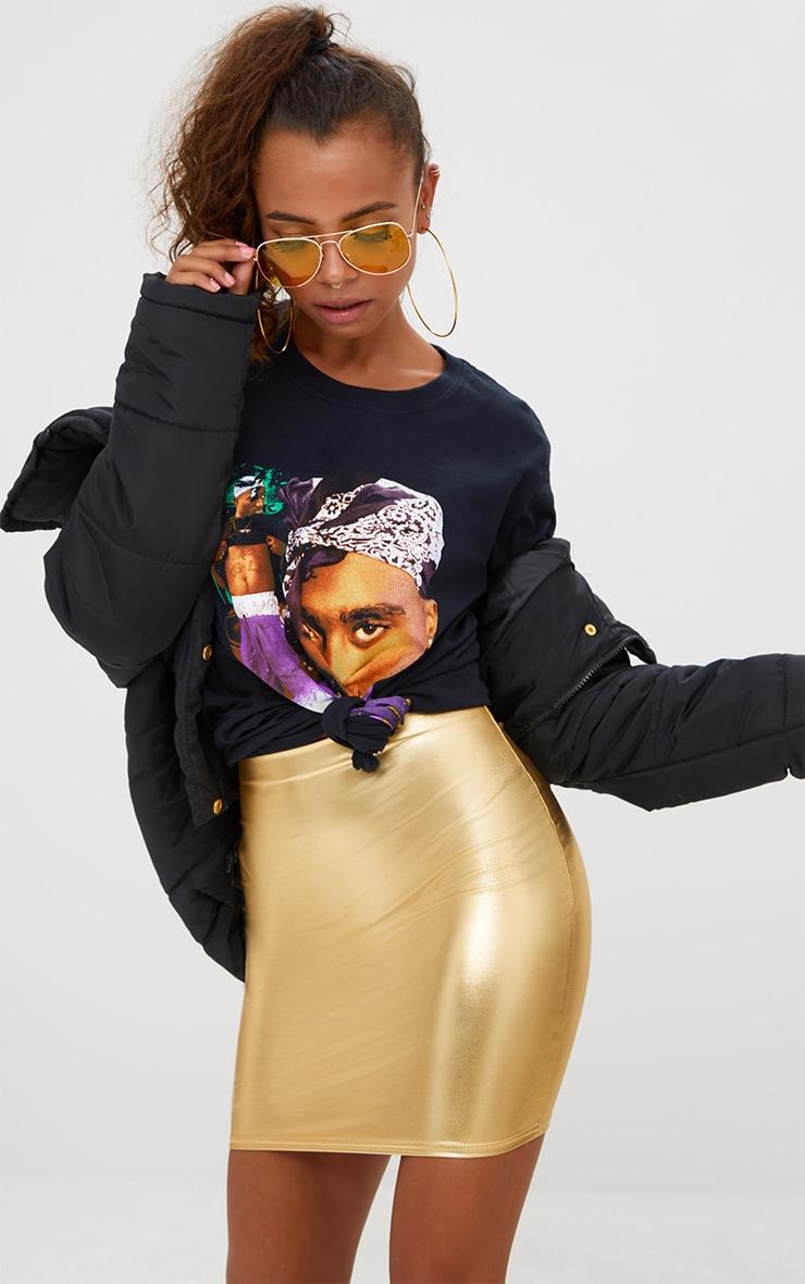 Petite Gold Foil Mini Skirt 1