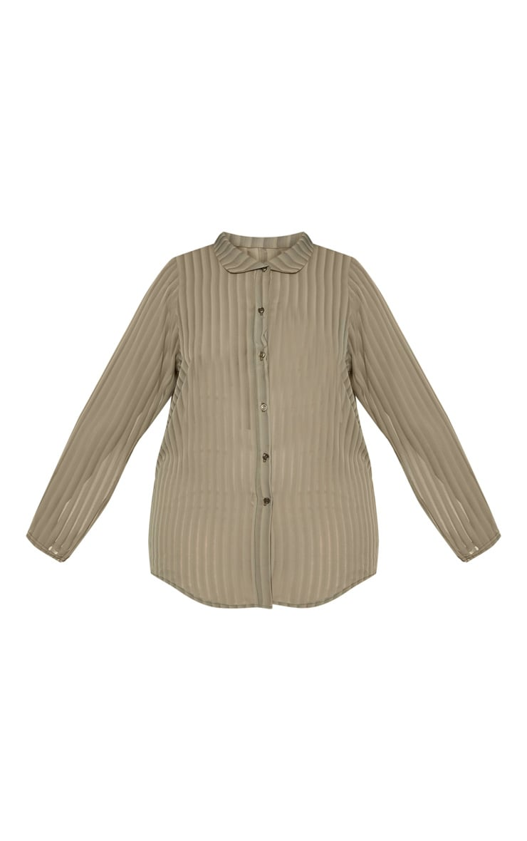 Plus Khaki Striped Chiffon Oversized Shirt 3