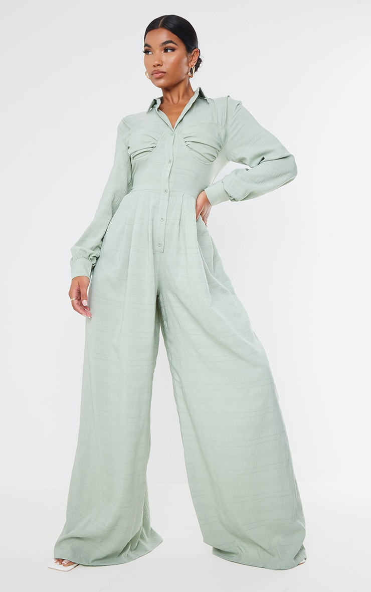 Sage Green Ruched Cup Wide Leg Shirt Jumpsuit 1