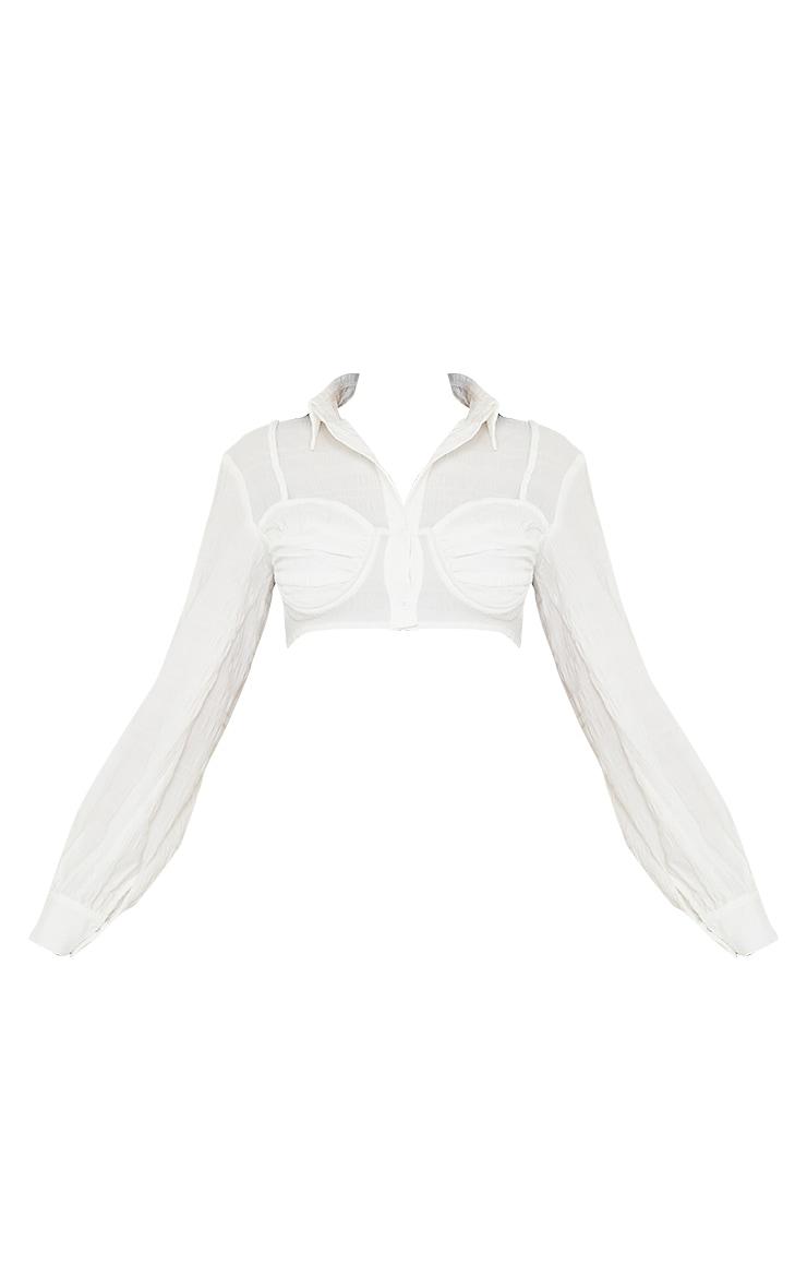 White Textured Bralet Detail Cropped Shirt 5