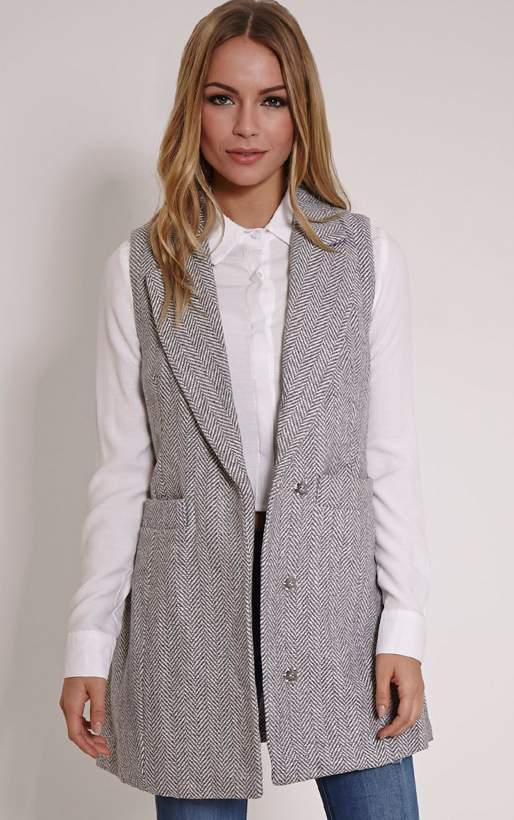 Leelee Grey Striped Sleeveless Jacket 1