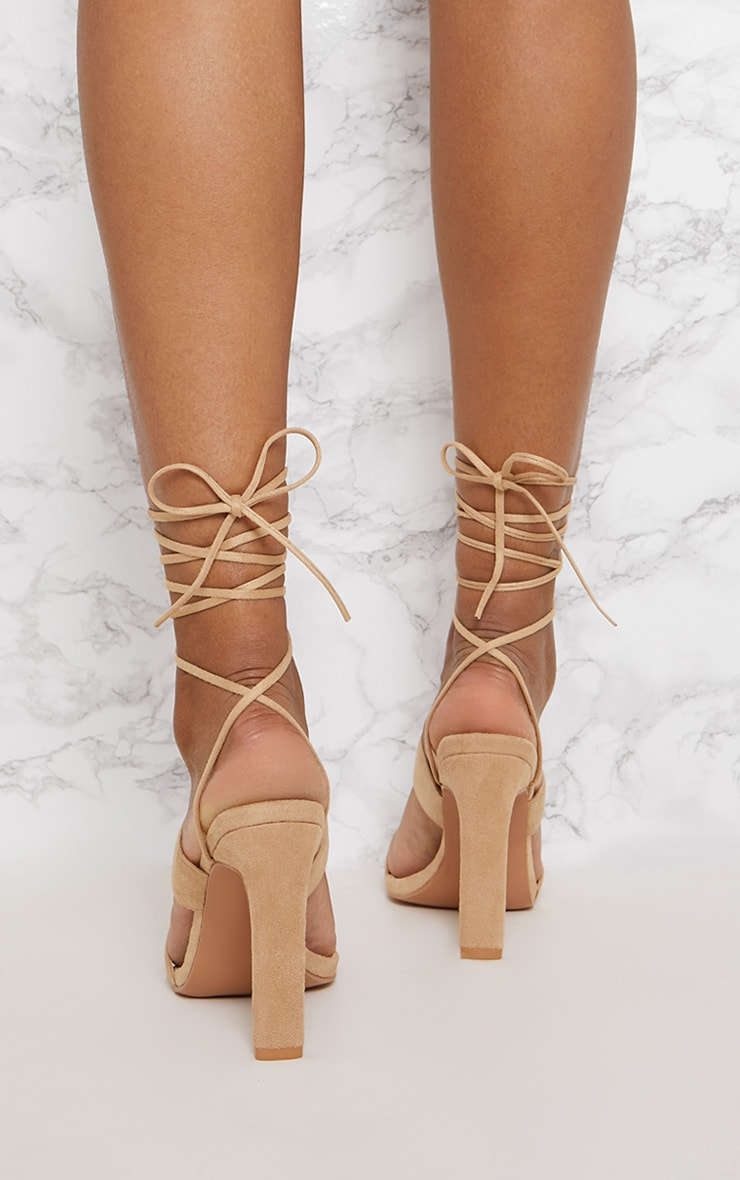Nude Ankle Lace Up Mule Heel 4