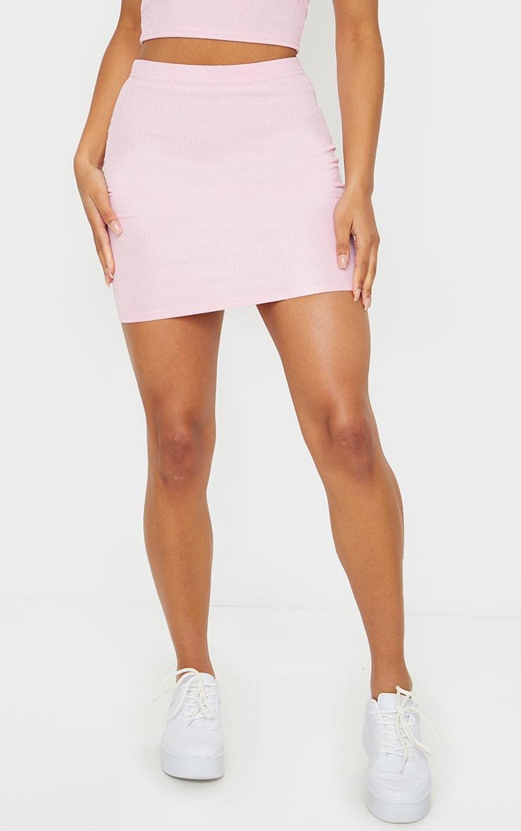 Candy Pink Crinkle Rib Mini Skirt 2
