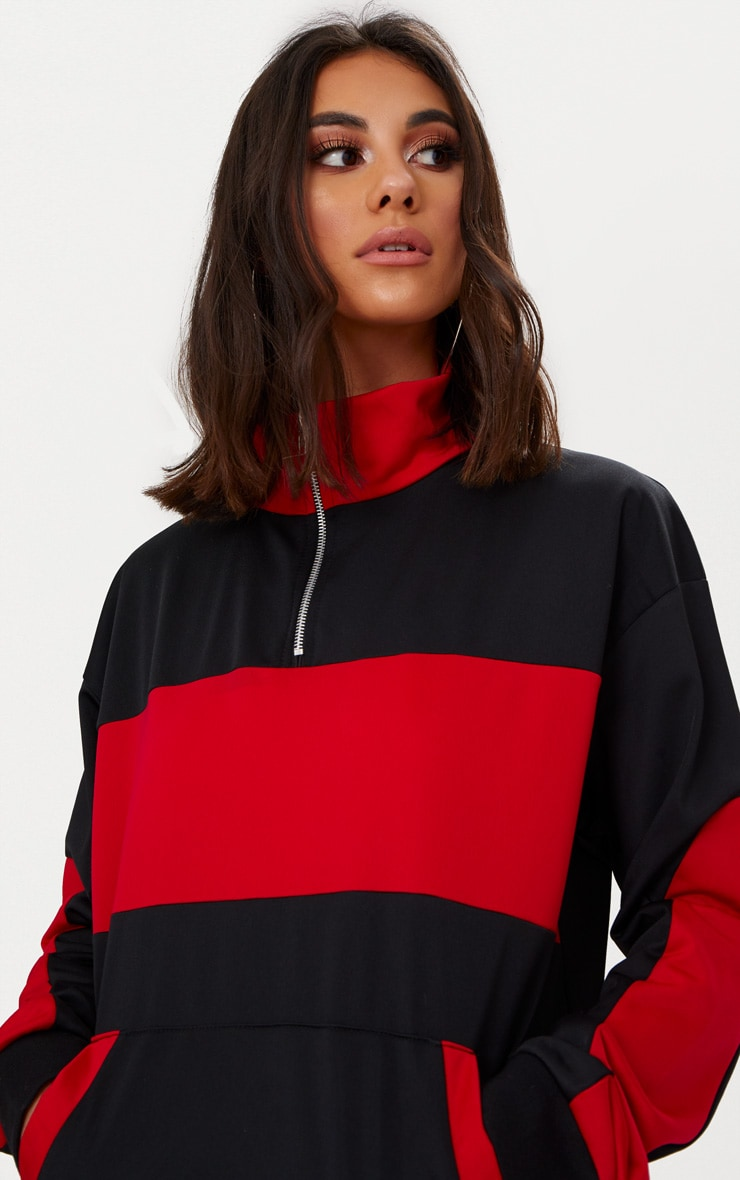 Black Colour Block Tracksuit Top  5