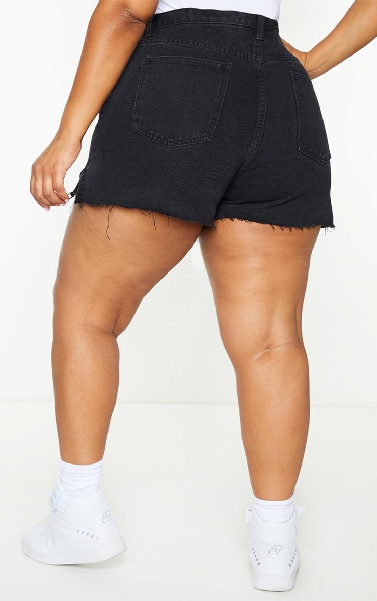 Plus Washed Black Split Hem Mom Shorts 3