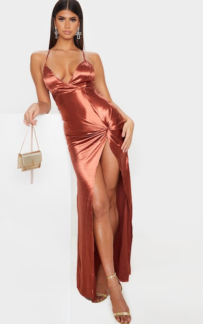 Copper Satin Twist Detail Split Front Maxi Dress