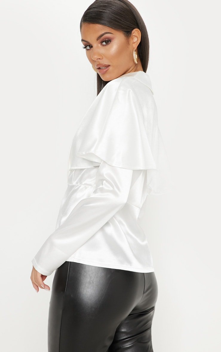 White Cape Detail Satin Plunge Shirt 2