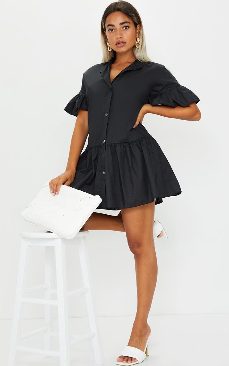 Petite Black Drop Hem Short Sleeve Shirt Dress 3