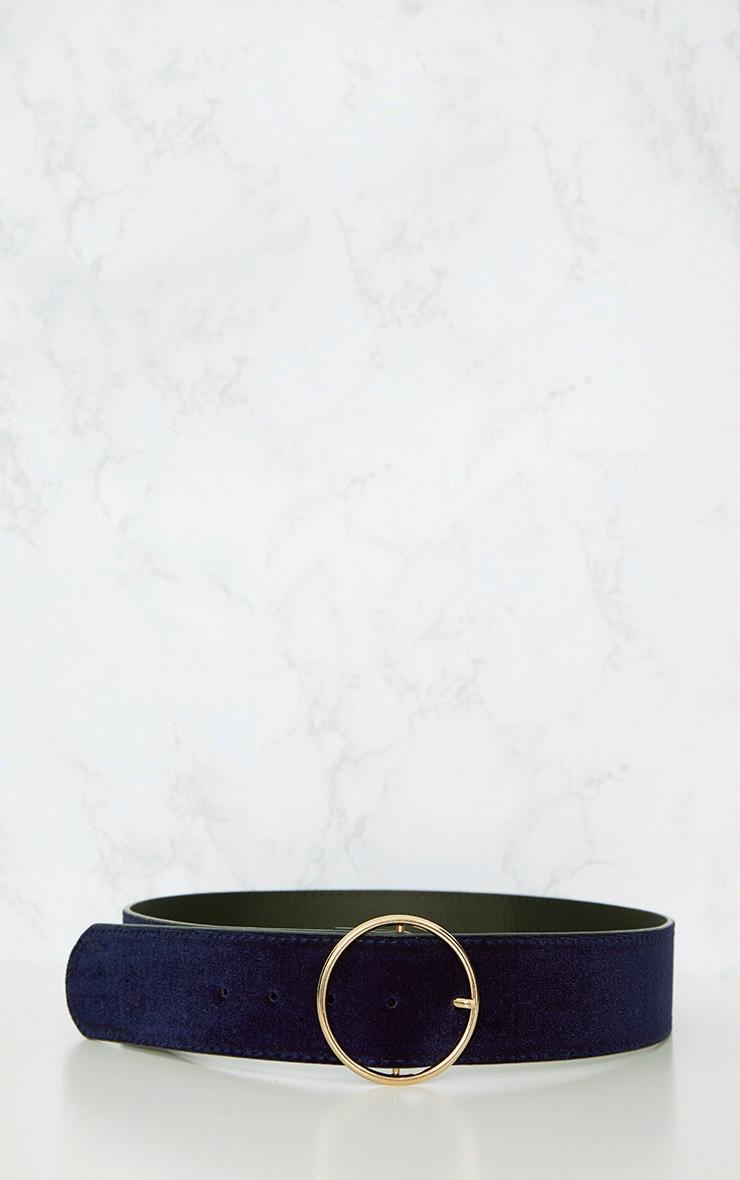 Navy Thin Circle Buckle Belt 4