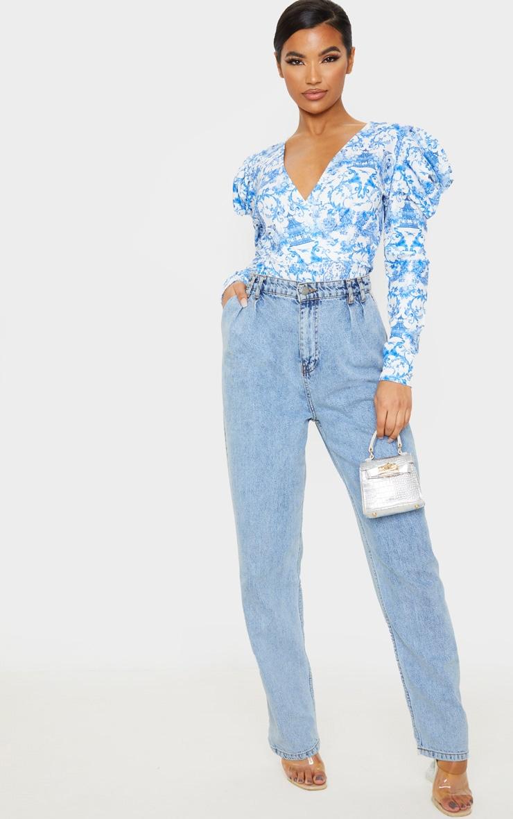 Blue Ornate Floral Crepe Puff Sleeve Deep Plunge Bodysuit 6