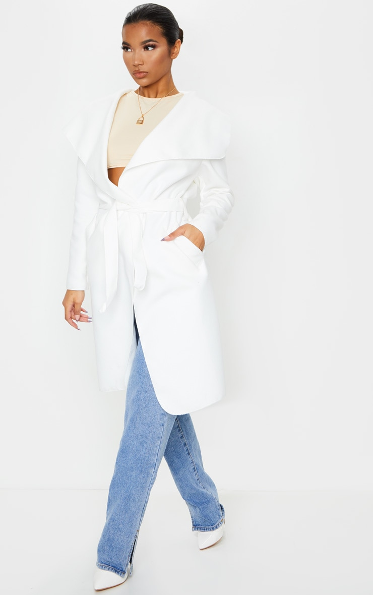 Veronica Cream Oversized Waterfall Belt Coat 3